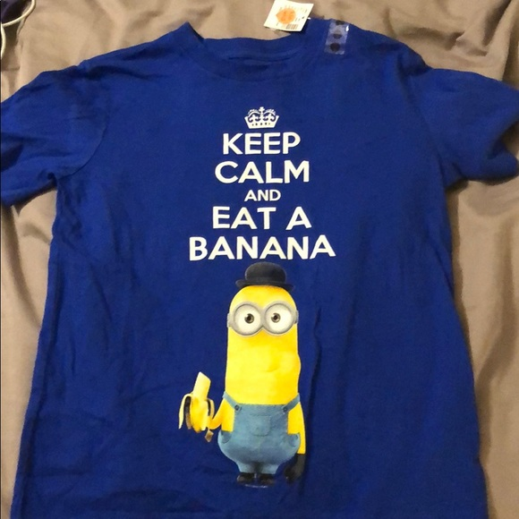 Minions Keep Calm And Eat A Banana T-Shirt blu navy L